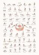 Hand drawn poster of hatha yoga poses and their names, Iyengar yoga asanas difficulty levels 16-60