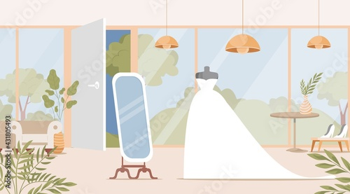 Obraz Wedding shop interior design with bride dress vector flat illustration. Bridal boutique with mannequins, mirror, flowers and plants in pots. Preparation for wedding ceremony, choosing marriage dress. - fototapety do salonu