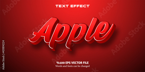 Slika na platnu Livid text with strong red, cartoon style editable text effect: Apple