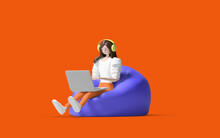 Work From Home 3d Illustration