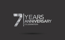 7 Years Anniversary Logotype With Silver Color Isolated On Black Background. Vector Can Be Use For Party, Company Special Event And Celebration Moment