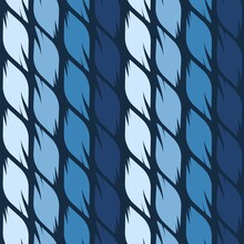 Seamless Vector Pattern Of Four Shades Of Blue Graphic Leaves.