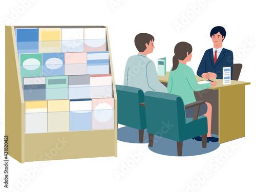 Fotografiet 保険代理店の窓口で対応するスタッフと相談するカップルのベクターイラスト