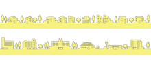 シンプルでかわいい街並みのイラスト(線画)