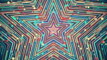 Colorful Festive Star. Geometric Abstract Background. Looped Video.