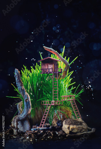 Fototapeta Miniature treehouse in tall grass with driftwood, forest adventures, children book cover obraz