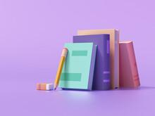 Online Education, E-learning Concept. Stack Of Books, Bookshelf. 3d Render Illustration
