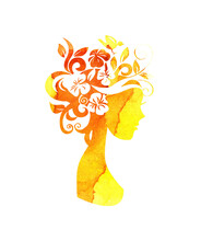 Watercolor Illustration Of A Silhouette Of A Girl With Flowers In Her Hair With Yellow And Orange Stains Of Paint. Summer Girl, Autumn. Flower Fairy. Silhouette For Design Isolated On White Background