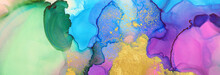 Art Photography Of Abstract Fluid Painting With Alcohol Ink, Blue, Green, Pink And Gold Colors