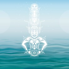 Animation Image Of Ancient Pagan Deity. God, Idol, Icon, Totem. Element Of Rock Painting. Background - Blue Sky, Sea Waves. Vector Illustration. Print, Poster, Card
