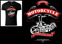 T-shirt Design For Bikers With Motorcycle And Decorative Ornaments And Texts - Colored Illustration Isolated On Black Background, Vector