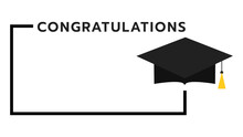 Congratulations Frame With Cap In Graduation  Symbols,isolated On White Background ,Vector Illustration EPS 10
