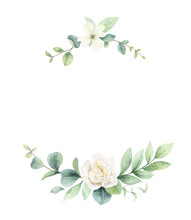 Watercolor Vector Wreath Of Green Branches And Flowers.