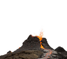 Volcano Crater During Lava Eruption Isolated On White Background