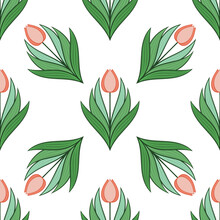 Seamless Pattern With Tulips In Flat Modern Style. Design From Multi-colored Tulips In Damascus Style. Vector Illustration