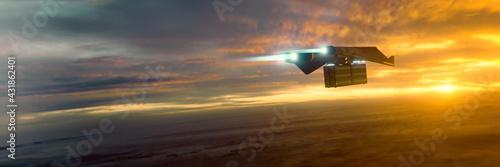 Obraz na plátně science fiction transporter at sunset mood