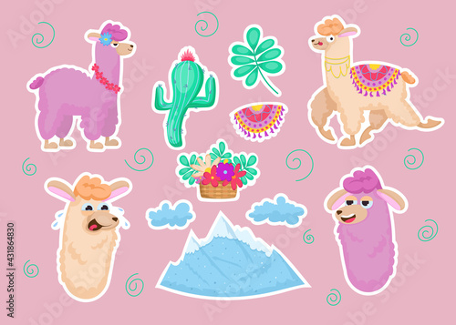 Fototapeta premium Colorful sticker set with llamas. Cute furry wild animals, mountain, clouds, flowers, cactus isolated on pink background. Peru, Mexico, nursery design for children concept