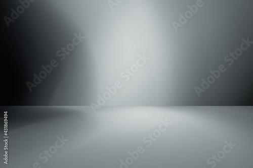 Foto white studio room background, grey floor backdrop with spotlight.