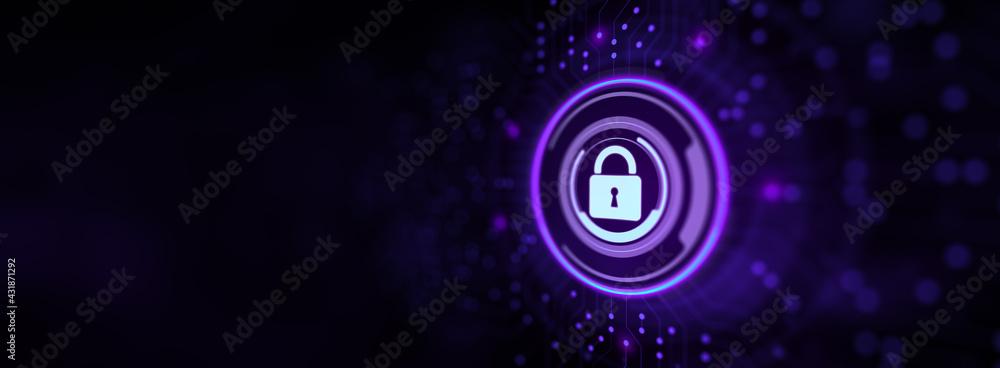 Fototapeta Cyber security data privacy concept on virtual screen