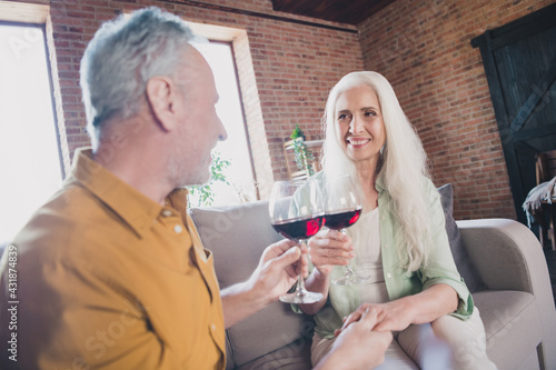 Obraz Photo of attractive positive old family husband and wife drink wine good mood celebrate indoors inside house home - fototapety do salonu
