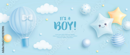 Fotografie, Obraz Baby shower horizontal banner with cartoon hot air balloon, helium balloons and clouds on blue background