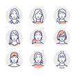 若い女性の顔アイコンのイラスト素材