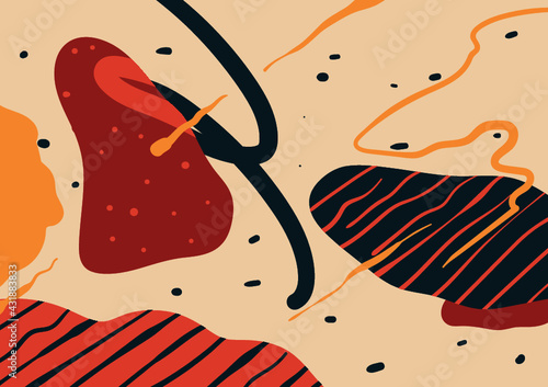 Fototapeta Set of abstract backgrounds. Hand drawn various shapes and doodle objects. Contemporary modern trendy vector illustrations. Every background is isolated. obraz
