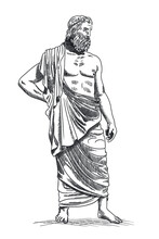 The Ancient Greek God Zeus With A Beard In A Cape Stands Barefoot.