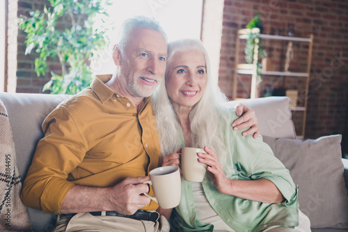 Obraz Portrait of attractive affectionate cheerful grey-haired couple sitting on sofa hugging drinking beverage at home brick loft interior house indoor - fototapety do salonu