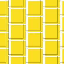Yellow Square Ornament On White Background. School Print. Textile, Fabric, Cover. Seamless Pattern. Vector 10 Eps