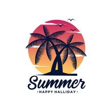 Sunset, Summer Beach Logo Design