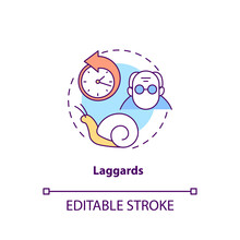 Laggards Concept Icon. Product Adopters Category Idea Thin Line Illustration. Last To Adopting Innovative Technology. Older People. Vector Isolated Outline RGB Color Drawing. Editable Stroke