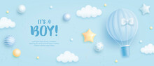 Baby Shower Horizontal Banner With Cartoon Hot Air Balloon, Helium Balloons And Clouds On Blue Background. It's A Boy. Vector Illustration