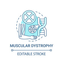 Muscular Dystrophy Blue Concept Icon. Health Issue. Chromosome Mutation. Hereditary Illness. Genetic Disorder Idea Thin Line Illustration. Vector Isolated Outline RGB Color Drawing. Editable Stroke