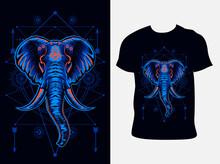 Illustration Vector Elephant Head With Sacred Geometry