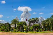 Beautiful White Buddhist Temple In Wat Tham Khuha Sawan In Khong Chiam, Thailand