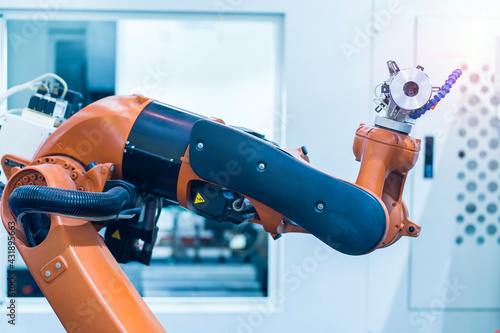 Fototapeta Smart industry robot arms for digital factory production technology showing automation manufacturing process of the Industry 4.0 obraz