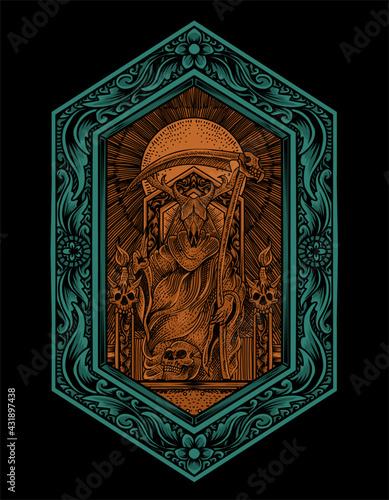 Obraz na płótnie illustration vector king satan on gothic engraving ornament style