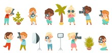 Cute Little Boy And Girl With Camera Taking Photograph And Posing With Studio Lighting Vector Set