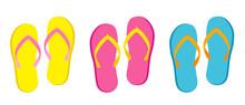 Summer Slippers, Flip Flops Set Vector Illustration Isolated