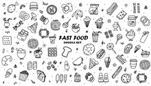Doodle Food Set Of 50 Various Fast-food Products. Hand-drawn Sweets, Desserts, Snacks, Popcorn, American Food And English Breakfast. A Big Set Of Cartoon Food Illustrations.