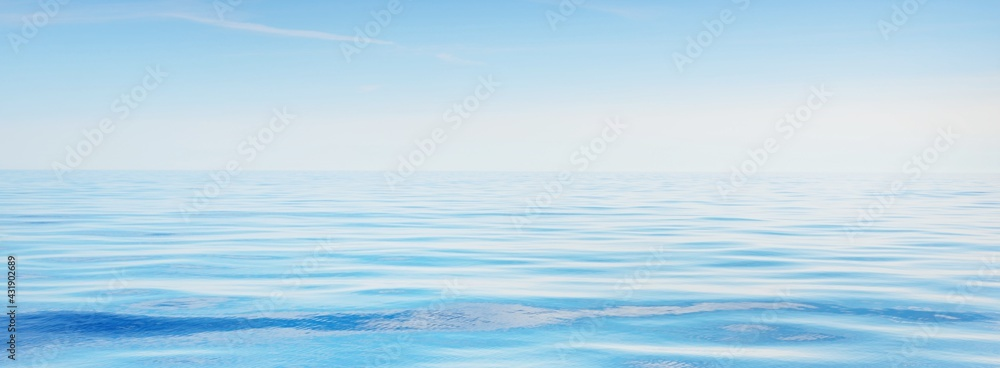 Obraz Sea water texture. Clear blue sky with white clouds and plane tracks. Reflections on water. Baltic sea, Estonia fototapeta, plakat