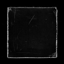 Old Black Square Vinyl CD Record Cover Package Envelope Template Mock Up. Empty Damaged Grunge Aged Photo Scratched Shabby Paper Cardboard Overlay Texture.