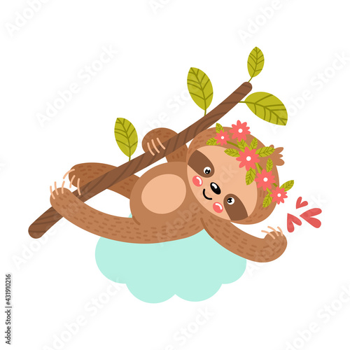 Naklejka premium Baby sloth hanging on a branch. Vector illustration.