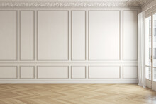 Beige-white Classic Empty Interior With Blank Wall And Moldings. 3d Render Illustration Mock Up.