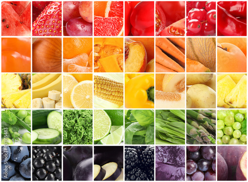 Fototapeta Different fresh fruits, vegetables and berries, collage obraz