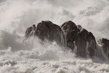 Rocks Hit By Strong Waves