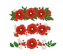 A Diadem Of Poppies And Leaves. Floral Vector Wreath. Decoration. Objects Are Isolated.