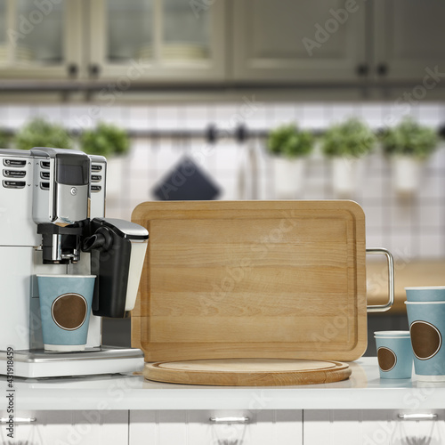 Obraz Coffee machine in kitchen and free space for your decoration.  - fototapety do salonu