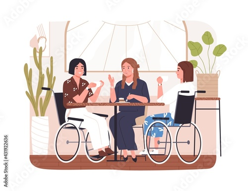 Disabled people in cafe. Concept of wheelchair users inclusion. Diverse friends chatting at table in coffee shop. Young modern women in wheel chair. Flat vector illustration isolated on white - fototapety na wymiar
